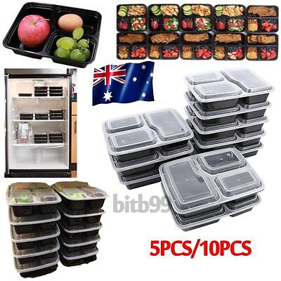 Microwavable 3 Compartment Reusable Lunch Box Bento Food Storage Container AU2