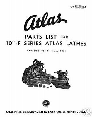 Atlas 10 Inch Parts List F Series Lathes & Millers