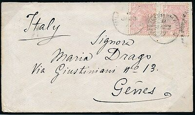 SG 141 2 1/2d Plate 5. 2 x Singles Tied To Clean Envelope.