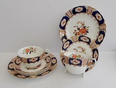 Antique Tuscan Hand Painted English Teacup,Saucer,Plate Trios x 2.c.1907-1920.