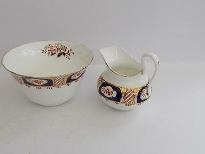 Antique Tuscan Hand Painted English Milk Jug and Sugar Bowl.c.1907-1920.