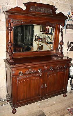 "Antique Late Victorian Mirror Backed Walnut Dresser/Cabinet - 81"" tall"