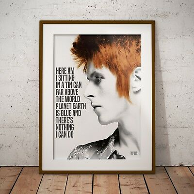 David Bowie Space Oddity Lyrics Three Print Options or Framed Poster EXCLUSIVE