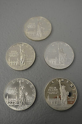 Lot of Five (5) 1986-S-P ELLIS ISLAND STATUE OF LIBERTY SILVER DOLLAR COINS