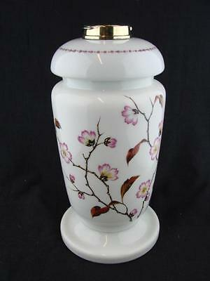 Stunning Victorian Glass & Enamel Decoration Oil Lamp Base & Font, Bayonet Fit