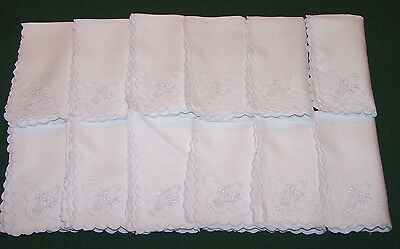 12 SPECTACULAR VINTAGE MADEIRA EMBROIDERED BRIDES BASKET LINEN NAPKINS, c1920