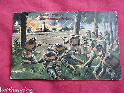 Night Attack at Hartmannsweilerkopf..WW1 Patriotic German Feldpost/Postcard.