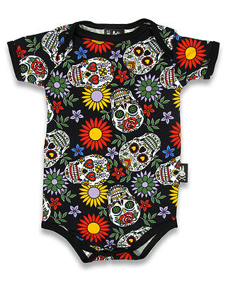 Six Bunnies sugar skull vest alternative baby clothes goth rock tattoo metal