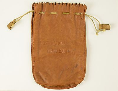 Vintage Leather Money Bag Pouch First National Bank Charleroi, Pa