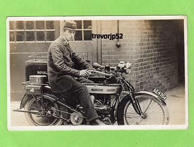 Postman Douglas Motorcycle AE4754 Royal Mail RP pc  Chesterfield Colln Ref A586
