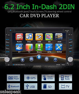 "Doppio din 6,2"" Navigatore Auto Stereo GPS HD DVD Player iPod MP3 TV USB+ Camera"