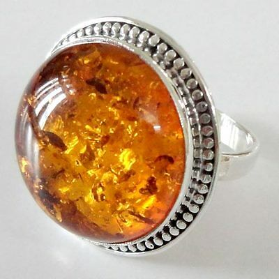 Artisan 92.5 Sterling Silver Ring US Size-9.75 Amber Gemstone Jewellery-9283