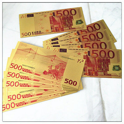 Europe €500 Banknotes Collections Home Decoration Arts Gifts 24K Gold Foil