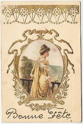 EARLY FRENCH GLAMOUR - Attractively Embossed - 1904 used postcard