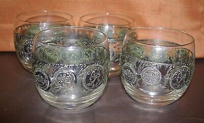 Lot Of 8 Signed Culver Sterling Roly Poly Old Fashion Glasses Silver Us Coins