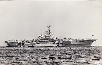 "Royal Navy Real Photo. HMS ""Indomitable"" Aircraft Carrier. WW11. Spithead. 1953"