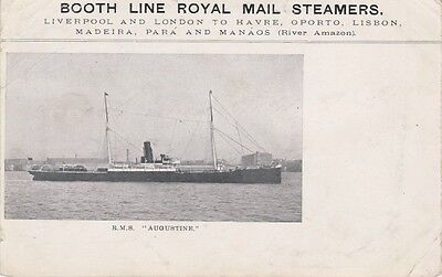 "Booth Line Royal Mail Postcard. RMS ""Augustine"" Undivided Back. Rare Mailed 1906"