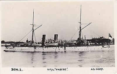"Royal Navy Real Photo. HMS ""Phoebe"" (1890) Cruiser. Early View as completed."
