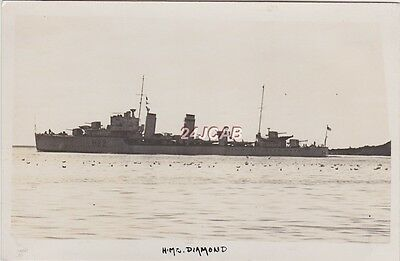 "Royal Navy Real Photo. HMS ""Diamond"" D-class destroyer. Sunk by Aircraft. c1930s"