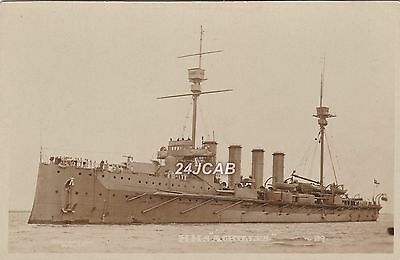 "Royal Navy Real Photo. HMS ""Achilles"" (1905) Armoured Cruiser. WW1. c 1910"