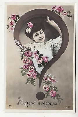 EARLY FRENCH GLAMOUR - A Quand La Response #271 - 1907 used Real Photo postcard
