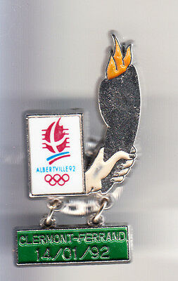 Rare Pins Pin's ..  Olympique Olympic Relais Clermont F Albertville 1992 ~B9