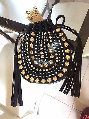 Sac A Main Pochette Soiree Mariage Sacoche Clouter Or Et Strass + Bandouliere