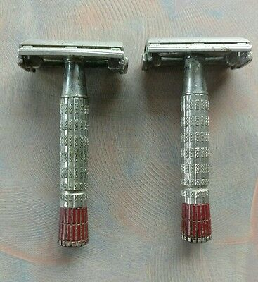 2 Gillette Red Tip Safety Razors code A-2 & B-2 1955 & 1956