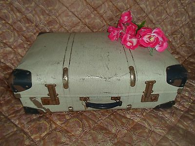 """Pre-Loved Trunk Style 27"""" Vintage Suitcase ~ Retro Display - Prop - Upcycle"""