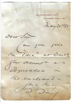 Sir Theodore Fry - Liberal MP for Darlington - original 1885 letter