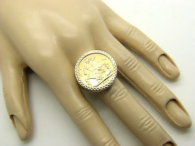 9ct & 22ct Yellow Gold 1909 Full Sovereign Coin Ring Size X 1/2