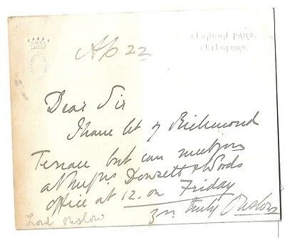 Earl of Onslow - Governor of New Zealand - autograph card from Clandon Park