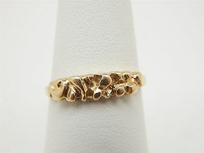 Simple & Pretty 14k Yellow Gold Nugget Style Ring Size 6