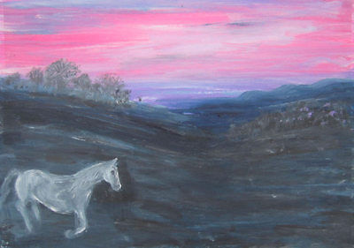Grey Horse coming in at Sundown: an original oil painting by Jenny Hare