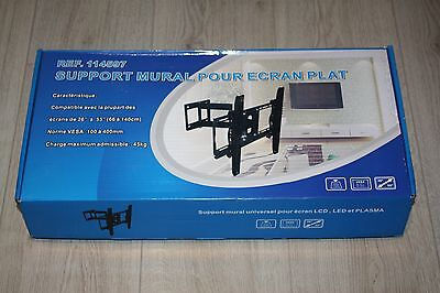 """Support mural pivotant inclinable TV écran plat LCD 26"""" au 55"""" - NEUF -"""