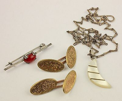 Vintage antique quality mixed  jewellery lot pendant brooch pin and cufflinks