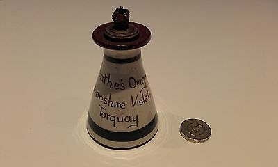 Devon violets pottery scent bottle glazed earthenware with ornate stopper