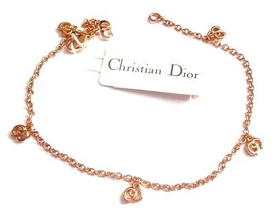 Signed Christian Dior Symbol Anklet Gold-Plated Chain w/CD Monogram Charms New
