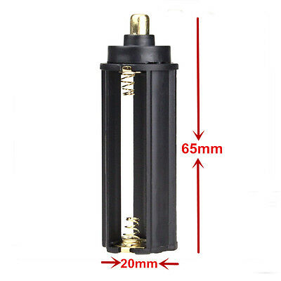2xAAA Plastic Battery Holder Case Cylindrical Type For 18650 Flashlight Light