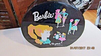 1962 Barbie Ponytail Round Black Vinyl Hatbox Carry Case Rare Find w Clothing