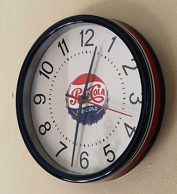 """PEPSI-COLA 9"""" Round Red, White & Blue Wall Clock Quartz uses AA Battery Included"""