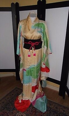 Vtge Japanese  Furisode  Kimono 100% Silk With Gold Embroidered Butterflies