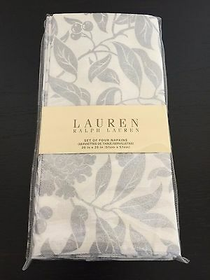 "Ralph Lauren Set/4 PINEVIEW Silver Cotton Dinner Napkins 20"" Square HOLLY BERRY"