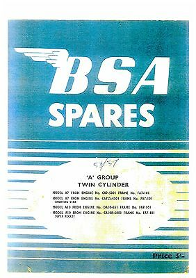 Bsa Motorcycle A7 & A10 Spare Parts Manual