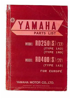 Yamaha Rd250 (S) Type 1A2 & 1N9 Rd400 (S) Type 1A3 Motorcycle Spare Parts Manual