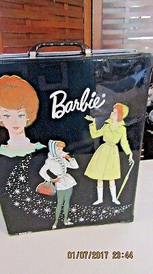 VINTAGE 1963 BARBIE BLACK VINYL Barbie DOLL CASE TRUNK clothes