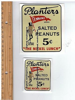 PLANTER'S MR PEANUT DECAL SET JAR Gumball NUT VENDING MACHINE Peanuts Planters 3