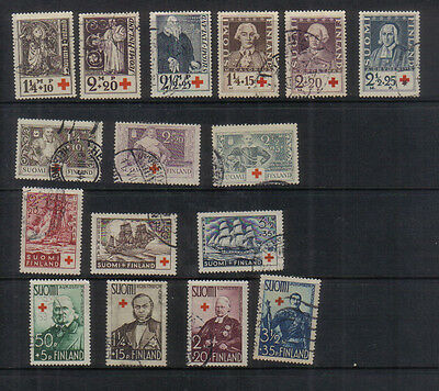 Finland 1933-38 Five Red Cross Fund sets used