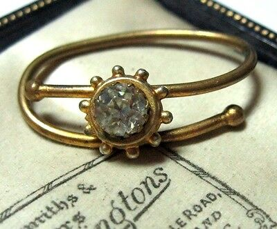 Fine VINTAGE Jewellery Antique Victorian Gilt Pinchbeck Gold Crystal Scarf Ring