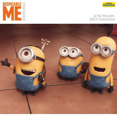 (Despicable Me) Minions Movie Animated Art 16 Month 2017 Mini Wall Calendar, NEW